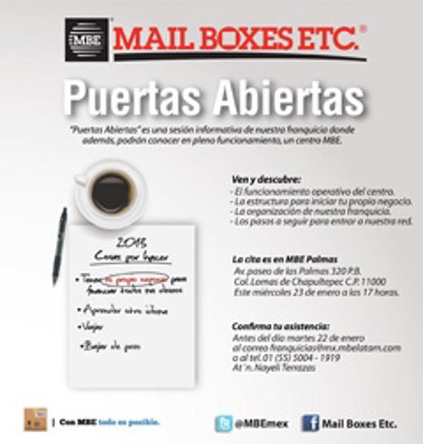 """Conozca la franquicia Mail Boxes Etc.""""A puertas abiertas"""""""