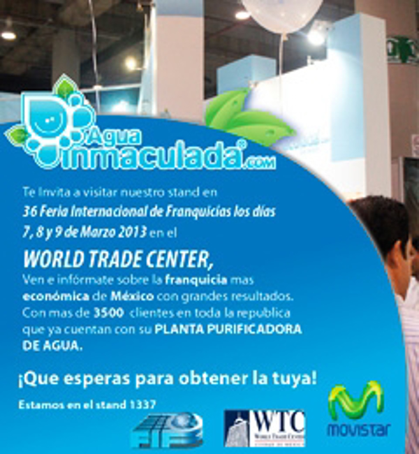 Agua Inmaculada en la 36 Feria Internacional de Franquicias en el WTC de México