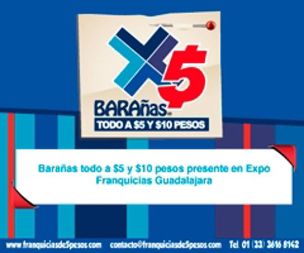 Barañas todo a $5 y $10 pesos presente en Expo Franquicias Guadalajara